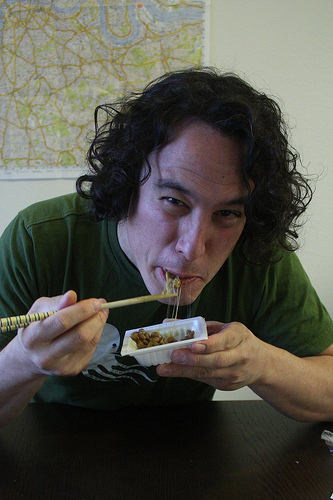 John cringing on natto.